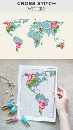 World map cross stitch pattern | Flower map cross stitch pattern | Geometric embroidery DIY