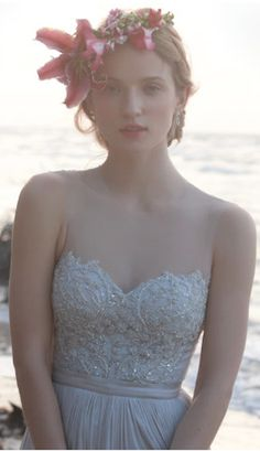 soft grey wedding gown