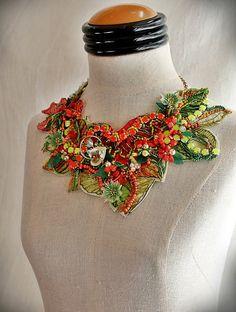 CACTUS FLOWER Orange Green Beaded Textile Statement Necklace