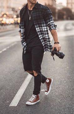 fashion menswear mensfashion mensoutfits streetstyle streetwear vans converse streetfashion fashstop jeans rippedjeans denim shirts denimshirt photography camera is part of Mens fashion - Business Casual Men, Men Casual, Business Suits Men, Street Casual Men, Casual Styles, Men Street, Casual Wear, Street Wear, Mode Swag