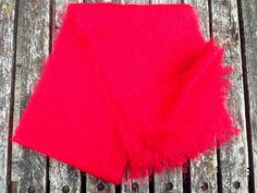 Vintage 1950's Mohair Scarf RED by FoxFowweather on Etsy