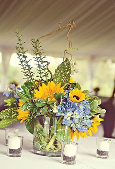 Centerpiece option with sunflowers and hydrangeas