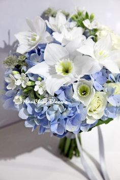 More and more brides-to-be of today seem to fancy more the blue color for wedding flowers. Dawn's bouquet of blue hydrangea, decorated with eucharis, tweedia & rose.