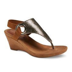 Women's Mountain Sole Ashley Shimmer Wedge Sandals - Gold 8.5