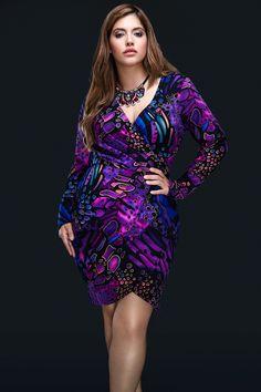 Adele Purple Wrap Dress Plus Size #UNIQUE_WOMENS_FASHION