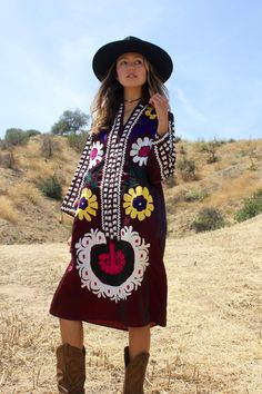 Vintage Silk Satin Uzbek Suzani Tunic Dress