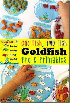 FREE printable Dr. Seuss One Fish, Two Fish Goldfish counting activity for preschool, prek, kindergarten, 1st grade (homeschool, march, kids activities)