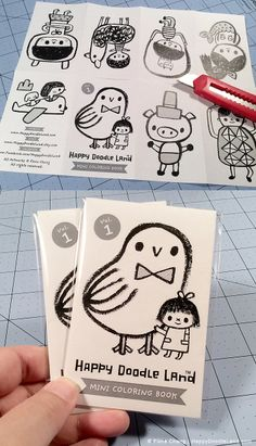 Mini Coloring Zine by flora chang, bonus gift for print purchases at HappyDoodleLand etsy shop.
