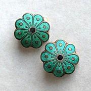 Vintage Sterling Silver Green Enamel Norway David-Andersen Flower Earrings