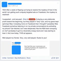 Man causes paranoid delusions in his roommate with wickedly clever Facebook prank. | Pranks | Happy Place