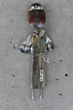 """original mixed media metal from my fire abstract angel 8x3""""  k d milstein fadedwest"""
