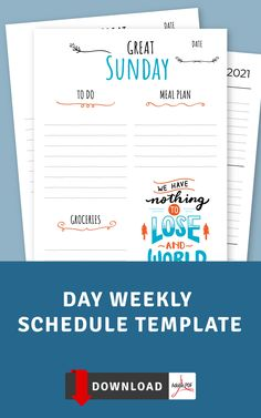 This Day Weekly Schedule templates will help you keep track of your chores, tasks and appointments, organize easily your personal and class schedule or work schedule. Choose one that you like and get started on getting organized. Download file and get it printed using any printer that you have access to or use it with Xodo, Noteshelf, Notability and Goodnotes for your Android tablet. #schedule #hourly #week #hours #planner