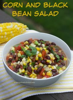 Super easy Corn and black bean salad.  Super yummy and great compliment to any of your grilling recipes #HuskYeah, #IC  (ad)