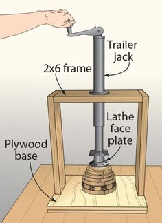 Click To Enlarge - Trailer jack puts the pressure on segmented turnings
