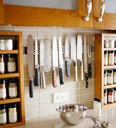 Hang your knives with a magnetic strip above the counter. More organization tips @BrightNest Blog
