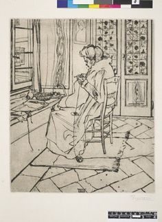 A portrait of the artist's mother knitting in front a window looking onto the street; a pair of folding doors are in the background. 1907 Dr...