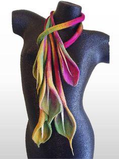 Blush Calla Lilium hand felted necklace: