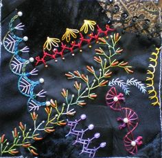 Ribbon Embroidery Flowers by Hand - Embroidery Patterns Crazy Quilting, Crazy Quilt Stitches, Crazy Quilt Blocks, Hand Embroidery Stitches, Silk Ribbon Embroidery, Embroidery Patterns, Quilt Patterns, Block Patterns, Patchwork Patterns