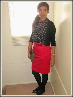 polka dot and red skirt - classy