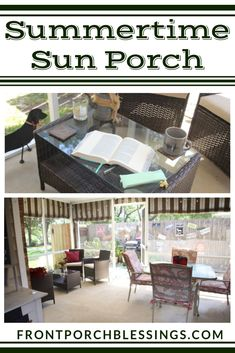 In the summertime, our sun porch is our favorite relaxing spot! Nothing is better than a cold drink under the fan and listening to the birds and watching the squirrels play. Come along and see how I decorated our summertime sun porch for relaxing! Outdoor Retreat, Outdoor Spaces, Outdoor Decor, Porch Decorating, Decorating Ideas, Decor Ideas, Summer Porch Decor, Squirrels, Farm House