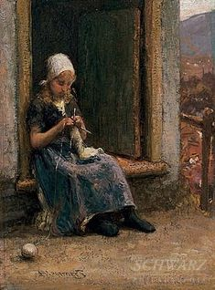 Girl Knitting by Bernardus Johannes Blommers (1845–1914)