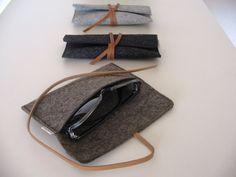 Minimalist wool felt leather case-sunglasses-pencil от Ecolution