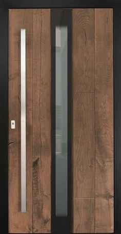 High contrast front door- Kontrastreiche Haustür Deep black frame and surface inlaid glass stand out from the rustic oak planks. Door Design Interior, Exterior Design, Steel Doors, Wood Doors, Classic Doors, Pivot Doors, Modern Farmhouse Exterior, Modern Door, Gate Design