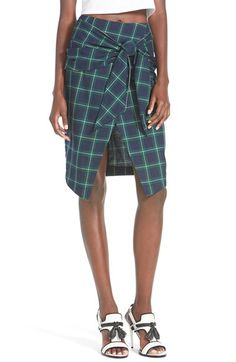 J.O.A. Plaid Tie Front Skirt available at #Nordstrom