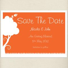 rustic celosia orange Save the date card, £1.20, #savethedate