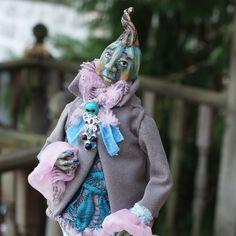 Pumpkin-head is an original one-of-a-kind (OOAK), polymer clay Fantasy Doll.