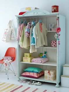 it's great to pick up a bargain and revamp it, try freecycle or ebay, or visit a local auction house. old tatty wardrobes are usually very cheap and can be easily upcycled for the nursery with some baby-safe paint and wallpaper