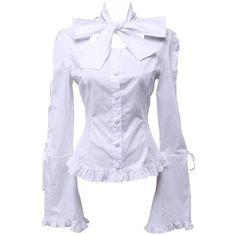 Partiss Women's Bow Low Collar Ruffle Vintage Victorian Lolita Shirt