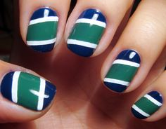 more Sports nails nail-design Blue And White Nails, Blue Nails, Colorful Nail Art, Cool Nail Art, Pretty Nail Colors, Pretty Nails, Hockey Nails, Gel Nails, Manicure