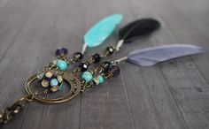 Bohemian Dream Catcher Necklace, Spiritual Necklace, Boho Gypsy Jewelry, Lampwork Glass, Feather, Turquoise, Purple, Brass, Crystal Necklace by LaSistaBeads on Etsy