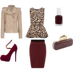 """""""Oxblood,leopard and nude! <3"""" by marina-akira on Polyvore"""
