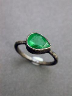 engagement ring wedding ring birthstone modern rustic eclectic raw organic oxidized sterling jewelry metalsmith modern wedding emerald