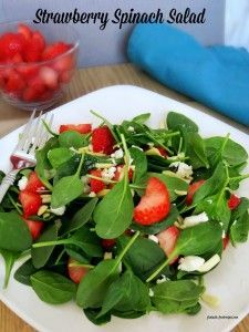 This Strawberry Spinach Salad might become one of your favorite salads. It is a tasty  way to get some vitamin C. This strawberry spinach salad also contains important nutrients such as iron.