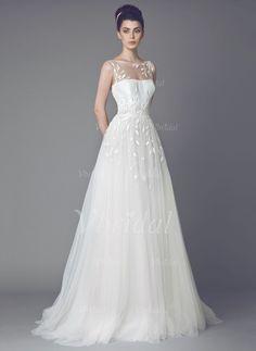 Abiti per matrimonio - $309.68 - A-Line/Principessa Tondo Sweep/Spazzola treno Tyll Abito per matrimonio con Ricamato Lustrini (0025093321)