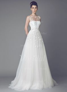 Wedding Dresses - $309.68 - A-Line/Princess Scoop Neck Sweep Train Tulle Wedding Dress With Embroidered Sequins (0025093321)