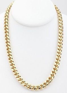 18K Gold Plated Curb Cuban Link Chain Necklace 9mm Lifetime Warranty
