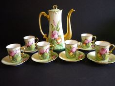 Antique JPL Limoges Teapot Set/Chocolate Pot Set Hand Painted