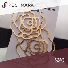 Gold Rose Earrings - Handmade!! Matte gold, rose cut out earrings. These are so weightless, you won't know you're wearing them! Jewelry Earrings