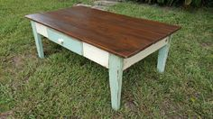 Wood coffee table - Handmade Reclaimed Wood Farmhouse Coffee Table w/Drawer, Living room table by FarmFreshCollections on Etsy