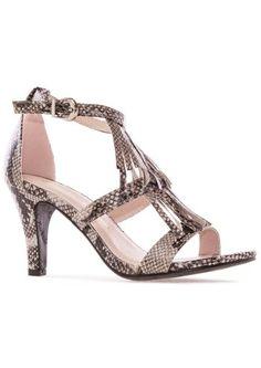 snake fringe heels beige