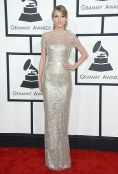 Taylor Swift en la Alfombra Roja de los Grammy 2014.