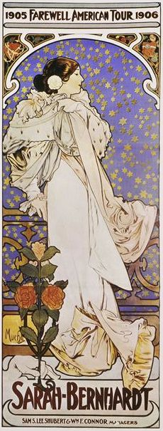 By Mucha Alphons (1860-1939), ca 1905, Sarah Bernhardt, Farewell American tour. Bibliothèque nationale de France