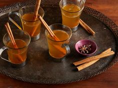 Get Hot Mulled Cider Recipe from Food Network - I used 8 c apple cider , 2 clementines sliced, no star anise, abt 1/8 tsp ground cloves, abt 1/4 tsp cinnamon.