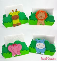 como fazer porta guardanapo festa aniversario bichinhos floresta safari eva (1) Birthday Themes For Boys, Safari Birthday Party, Jungle Party, Jungle Theme, Baby Birthday, Felt Animal Patterns, Foam Crafts, Baby Boy Shower, Gifts For Kids