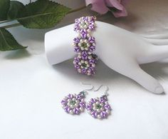 Woven Bracelet and Earrings Set in Orchid Twin Beads