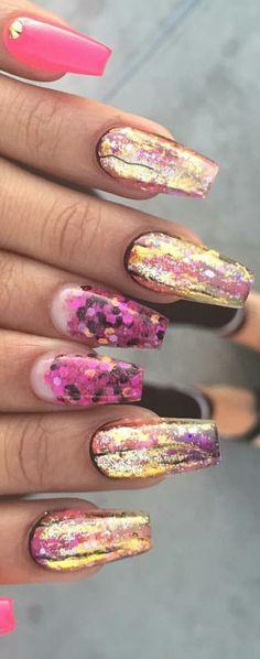 Pink gold nails @malishka702_nails